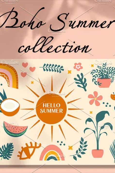 Hello summer boho abstract set