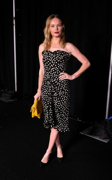 Kate Bosworth poses backstage at Escada for New York Fashion Week.