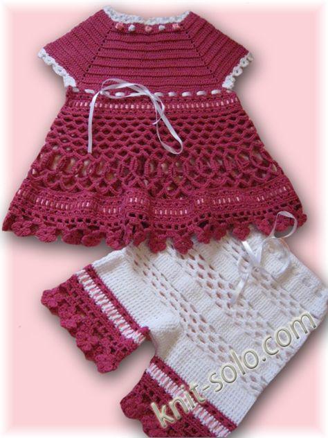 Crochet summer set: dress and panties for girls