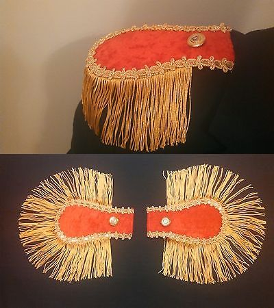 NEW 2  RED EPAULETTES STEAMPUNK PIRATE COSPLAY COSTUME LARP MILITARY  FRINGE
