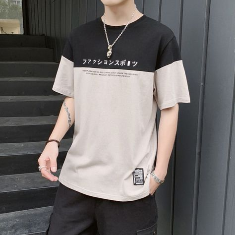 Short-sleeved T-shirt Men's Men's Season New Student Trend Half-sleeved Fashion Loose Casual Bottoming Shirt Men's T-shi Korean Fashion Men, Boy Fashion, Mens Fashion, Fashion Outfits, Grunge Outfits, Boy Outfits, Casual Outfits, Mode Streetwear, Mens Clothing Styles