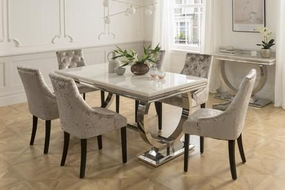 The Arabella 6 Seater Dining Set With 4 Or 6 Chairs Dining Table Marble Dining Room Decor Modern Dining Room