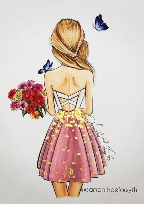 Mädchen von Hinten Kleid Rückenausschnitt Blond | Zeichnen