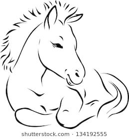 Foal Black Outline Illustration Horse Clip Art Outline Illustration Horse Illustration