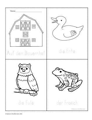 Mein Bauernhofbuch P 1 4 A Printable Coloring Book Of Farm Animals Download For Free At German In The Printable Coloring Book Coloring Books Activities