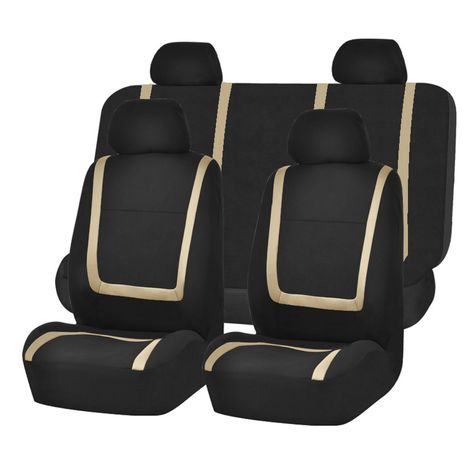 Unique Flat Cloth Seat Covers Beige /& Black seat covers