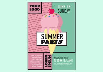 Summer Party Flyer Layout with an Ice Cream Illustration. Buy this stock template and explore similar templates at Adobe Stock