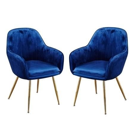 Lpd Lara Pair Of Dining Chairs Royal Blue With Gold Legs