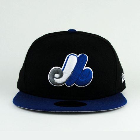 02cbceb33ada8 Montreal Expos Black And Royal Hat With Gray Under Visor Custom New Era Cap