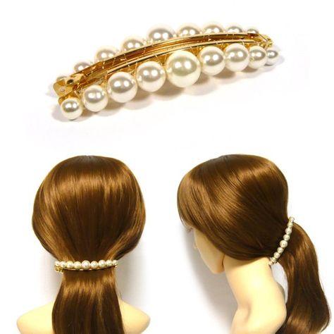 Bling Acrylic Rhinestone Plated French Hair Barrette