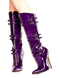 Color Sexy Tacón Púrpura Mujer Con Botas De Altas Alto qjLSMVpzUG