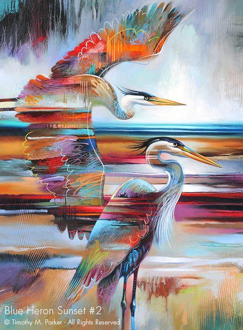 Blue Heron Sunset #2 • Abstract Bird Fine Art Print • Free Shipping — Art2D Gallery Naples FL - Contemporary Fine Art Prints & Modern Abstract Artwork by Southwest FL Artist Timothy Parker