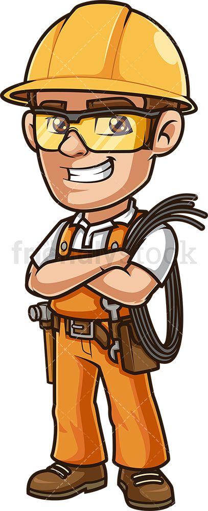 Happy Electrician Holding Wire Cartoon Clipart Vector Friendlystock Cartoon Clip Art Cartoon Vector Illustration