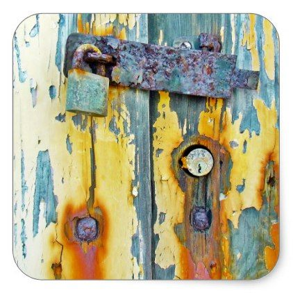 Vintage Wood Door With Peeling Paint And Lock Square Sticker Zazzle Com Vintage Vintage Wood Weathered Paint