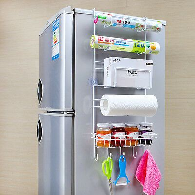 BEEGAGA Vacuum Suction Cup Multi-Layer Storage Holder Fridge Side Rack with Plastic Hooks Kitchen Refrigerator Side Shelves