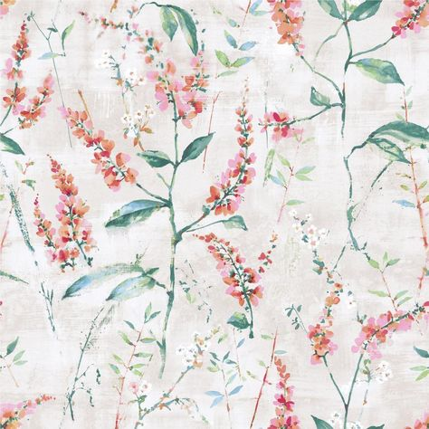CORAL FLORAL SPRIG PEEL & STICK WALLPAPER - orange / 1 roll - 20.5 inches wide x 16.5 feet
