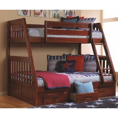 Greyleigh Boone Twin Over Full Solid Wood Bunk Bed In 2021 Bunk Beds Bunk Beds With Drawers Bunk Bed With Trundle Solid wood bunk bed twin over full