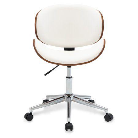 Belleze Adjustable Modern Bonded Leather Chrome Metal Swivel Office Desk Chair Walmart Com In 2020 Chair Task Chair Desk Chair