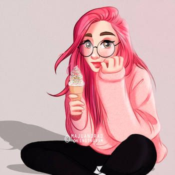 Pink Lady By Majuandrad Girl With Pink Hair Digital Art Girl Cute Girl Drawing