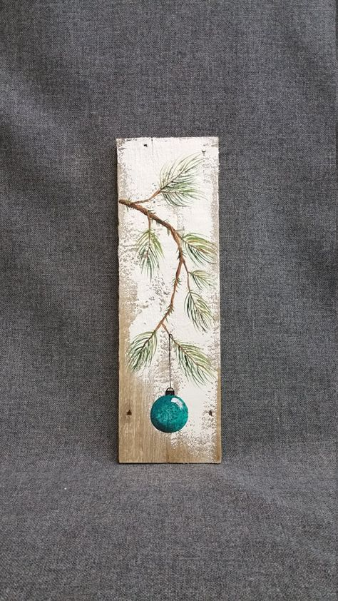 Christmas hand painted decoration, Turquiose, Pine Branch with teal Bulb…