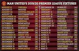 Details About 2019 2020 Manchester United Fixtures Schedule Soccer Futbol Football C In 2020 Manchester United Premier League Manchester United Premier League Fixtures