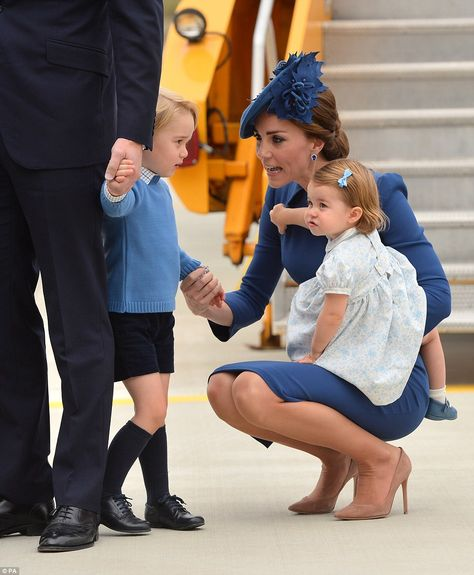 The Duke and Duchess of Cambridge with their children Prince George and Princess Charlotte as they arrive at Victoria International Airport, in Canada