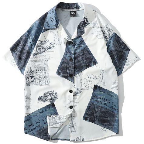 337f8b6669583 GONTHWID Sea Wave Printed Beach Shirts Summer Men Hawaiian Aloha ...
