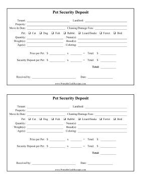 When New Tenants Move Into Houses And Apartments They Can Get This Deposit Receipt For Pets Entering The Premi Dog Breeding Business Pets Dog Breeding Kennels