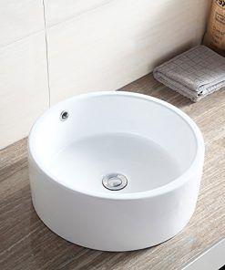 Waagee Round Ceramic Vessel Sink Bowl White Porcelain Bathroom Basin W Pop Up Drain Wall S Furniture Decor Vessel Sink Bowls White Vessel Sink Bathroom Sink Bowls