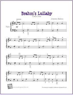 Brahms Lullaby Cradle Song By Johannes Brahms Free Sheet