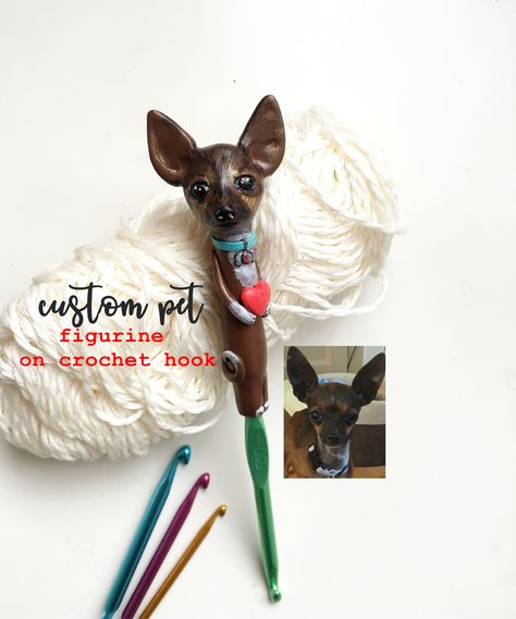 Personalized Chihuahua Crochet hook Custom pet Figurine Crochet supplies Dog Cat figurine crochet hook Unique gift for Crochet lover