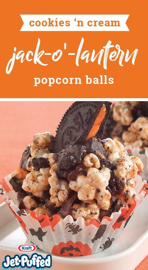 Cookies 'N Cream Jack-o'-Lantern Popcorn Balls