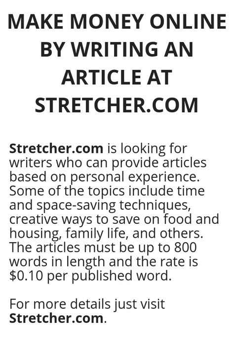 MAKE MONEY ONLINE BY WRITING AN ARTICLE AT STRETCHER.COM