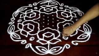 Download Simple Rose Flowers Kolam With 15 8 Middle Chukkala Muggulu With Dots Rangoli Design Vi Rangoli With Dots Rangoli Designs Rangoli Designs With Dots