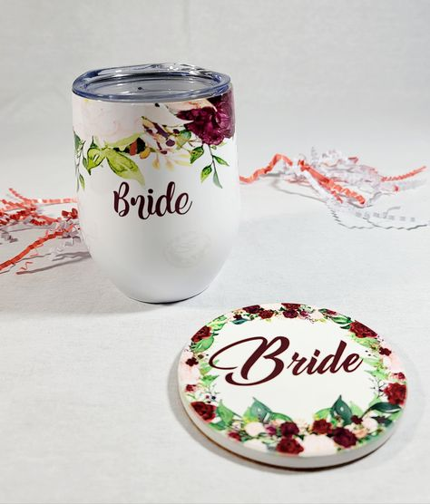 🐣. Offer Xtras! Personalize Wine Tumbler & Sandstone Coaster Set - Custom With Name, Initials, or Bride - Personalized Bridal Gift - Gift For Her With Name for $19.99 #BrideGift #PersonalizedBridal #bridal #BrideToBe #GiftForBride #FlowerGirlBag #BridalParty #BrideBag #WeddingPartyGifts #WeddingGift