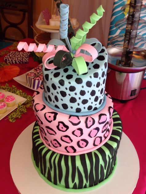 Tremendous Animal Print Cake For A 9 Year Old Girl 10Th Birthday Cakes For Funny Birthday Cards Online Alyptdamsfinfo