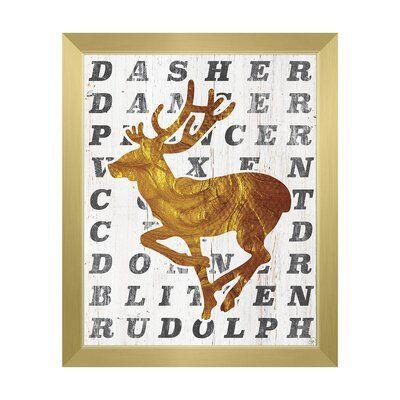 Click Wall Art Santa S Reindeer Coal Framed Textual Art Format Gold Framed Size 26 5 H X 22 5 W Wall Art Framed Art Art