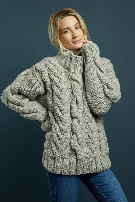 Knitted chunky sweater. Chunky Knits | Knitrowan | Cable