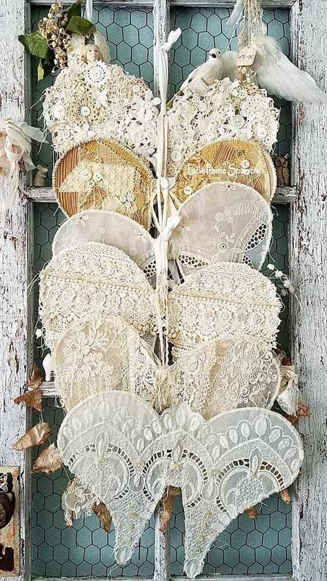 Wings Lace Wings Wire Angel Wings Shabby Chic Angel Decor - Home Accessories Decor Shabby Chic Mode, Shabby Chic Crafts, Shabby Chic Pink, Vintage Shabby Chic, Shabby Chic Style, Shabby Chic Decor, Vintage Lace Crafts, Shabby Chic Flowers, Rustic Decor