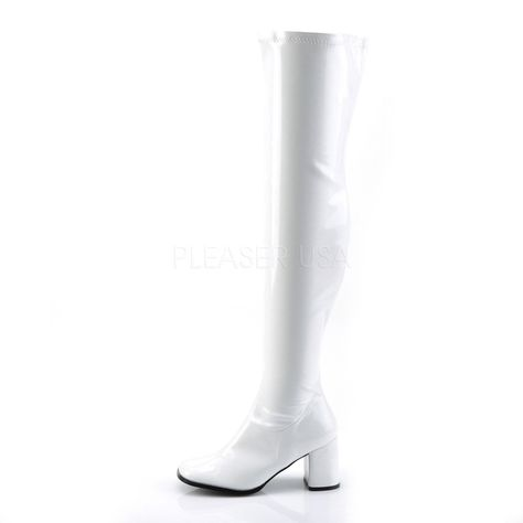 58f522bb6f66 3 inch Block Heel, Gogo Over-the-Knee Boot, Side Zip 3 inch (7.6cm) Block Heel  Gogo Over-the-Knee Boot, Stretch Patent, Full-Length Inside Zip Closure  Vegan ...