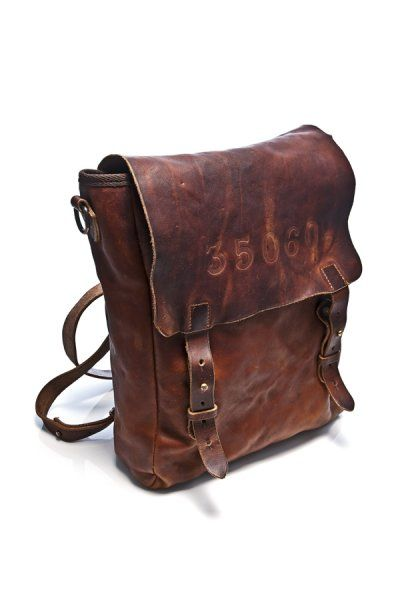 Aged Brown Leather Backpack From Htc Los Angeles