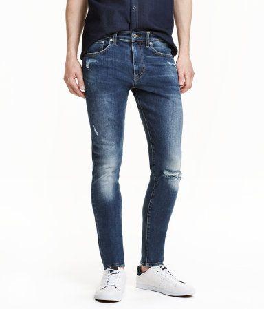 Super Skinny Low Ripped Jeans | Dunkelblau | Herren | H&M DE