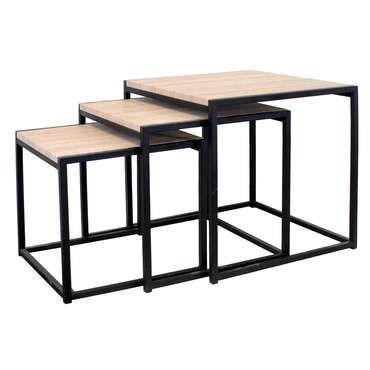 Lot De 3 Tables Basses Gigognes Maelle Coloris Bois Metal Pas Cher C Est Sur Conforama Fr Large Choix Prix Disc Table Basse Gigogne Table Basse Gigogne