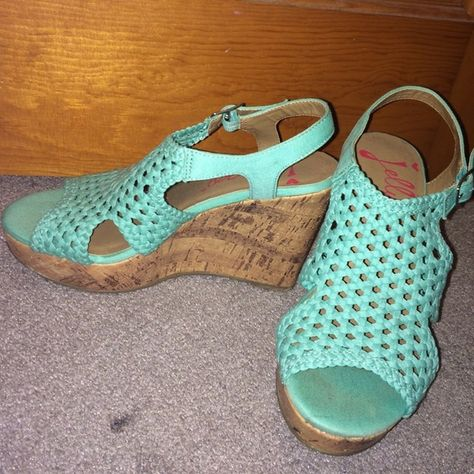 Mint Wedges Worn only once for graduation. Size 7. No box available. Jellypop Shoes Wedges