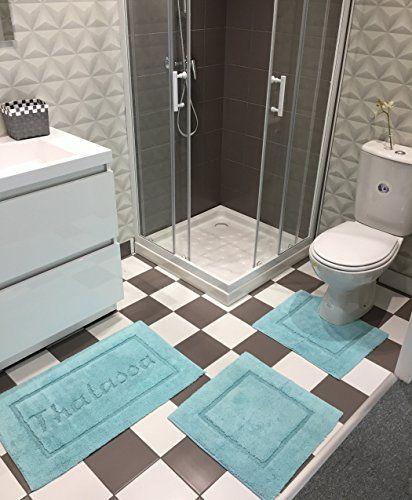 Tapis De Salle De Bain En Coton Lot De 3 Pieces Super Absorbant Doux Aqua Bleu En 2020 Tapis Salle De Bain Salle De Bain Tapis Toilette