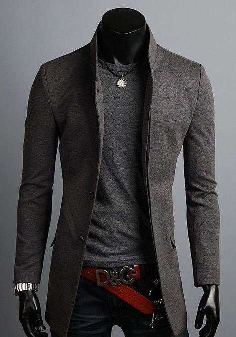 Dettagli: New Premium Premium Stylish China Collar Long Blazer Jacket Jumper Coat Top XS ~ XL