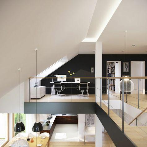 Die offene Galerie und der hohe Wohnraum setzen das - moderne wohnzimmer mit galerie