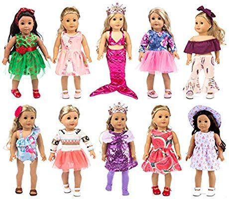 Amazon Com Ebuddy 10 Sets Fashion Doll Clothes And Accessories With Popular Elements Horn Sty Our Generation Doll Clothes American Girl Doll Girl Doll Clothes