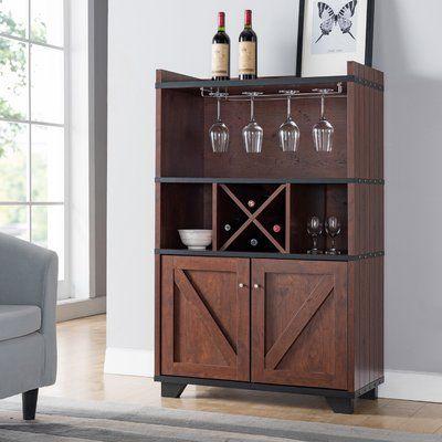 Gracie Oaks Wes Manufactured Wood Baker S Rack Wine Cabinets