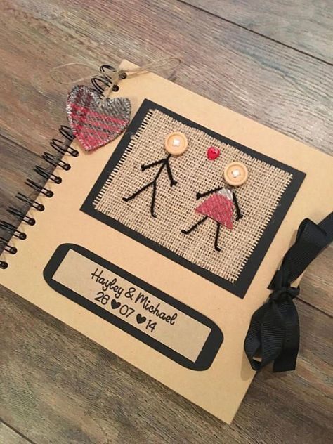 "8""x8"" Personalised Scrapbook - Rustic Scrapbook - Keepsake Book - Memory Book - Gift for Girlfriend, Gift for Boyfriend - Anniversary Gift"